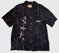 VTG Paradise Found Mens Sz L Black Hawaiian Button Down Shirt