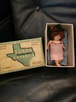 Tiny Antique Celluloid Doll With Hair In Old Texas Crystals Box Homemade Outfits