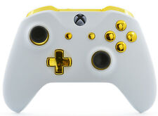 White/Gold Xbox One S / X Rapid Fire Modded Controller for COD WW2 Destiny 2