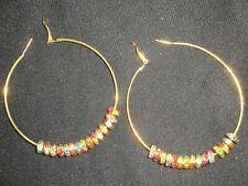 Par De Gran Tamaño 70mm oro plateado aro pendientes cargado con cristales
