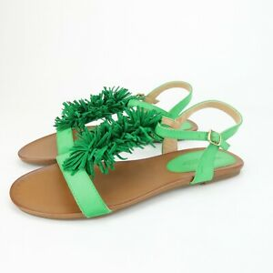 Patrizia by Spring Step Womens Kinski Green Leather Flats Sandals Size 5.5 M