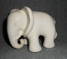 Art Deco Keramik Figur Elefant weiß glasiert schreitend wohl Gmundner Austria
