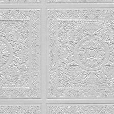 Paintable Wallpaper Large Tin Ceiling Tiles Heavy Texture 56 Sq Ft Roll 48931