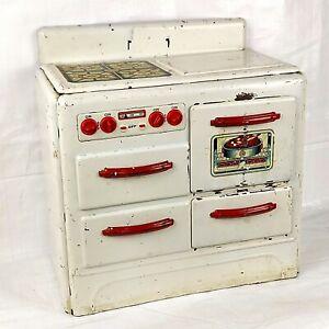 1930s Marx Pretty Maid Toy Oven, Metal Enamel Tin Range Kitchen Stove Vintage