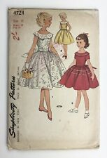 1950's Vintage Sewing Pattern Simplicity 4724 Girl's One piece Dress' Size 10