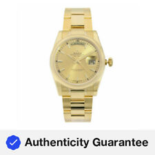 Rolex Día Fecha 36mm Oro Amarillo 18K Dial de Champagne Reloj Automático para Hombre 118208