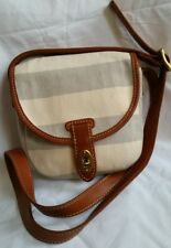 FOSSIL summer striped organic canvas leather crossbody small handbags