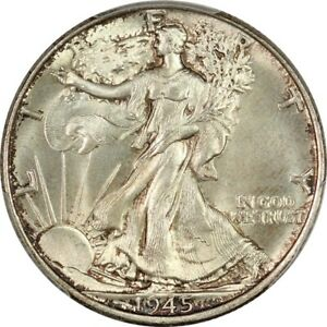 1945 Walking Liberty Half Dollar - PCGS MS66- Superb Gem BU, Lustrous & Original