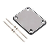 Chrome Guitar Neck Plate With One Rubbermat Stratocaster Telecaster  BT