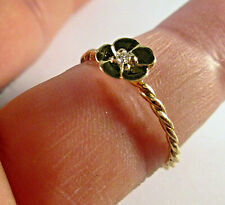 14 KT SOLID YELLOW GOLD FLOWER RING WITH DIAMOND SIZE 5