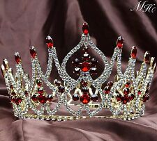 Gorgeous Wedding Tiara Crown Red Rhinestone Hairwear Beauty Pageant Party Prom