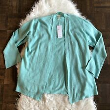 Eileen Fisher PS Small Blue Open Front Straight Cardigan Sweater Linen NWT $188
