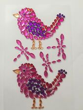 SELF ADHESIVE GEMS-ACRYLIC-PINK BIRD DESIGN/GEM STONES-CRAFT STICKERS