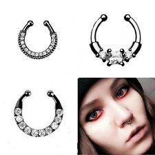 3x Clip on Fake Black Alloy Septum Clicker Nose Ring Non Piercing Hanger Jewelry
