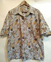 Hollis River Mens XL Shirt Pineapple Palm Leaf Cotton Hawaiian Short Sleeve