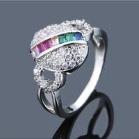 Fashion Rainbow Topaz CZ Wedding Ring 925 Silver Womens Engagement Jewelry Gifts