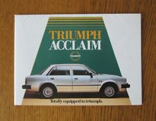 Original Motoring sales brochure, Triumph Acclaim,  1977