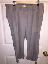 bce4debbbe444 USED OLD NAVY MATERNITY GRAY CROP CAPRI PANTS SZ L LARGE NO BELLY PANEL  LINEN