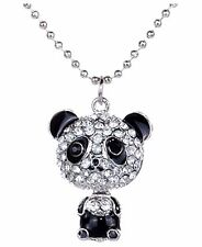 New Necklace Cute Rhinestone Panda Pendant Chain Jewelery USA Seller