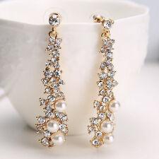 Korean Womens Pearl Rhinestone Crystal Drop Dangle Chandelier Earrings Jewelry