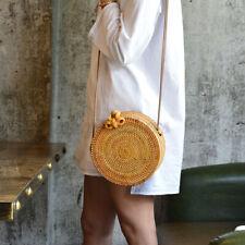 Women Lady Hand Woven Bag Round Rattan Straw Bohemia Style  Circle   ✿