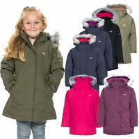 Trespass Fame Girls Waterproof Jacket Padded School Rain Coat with Fur Hood