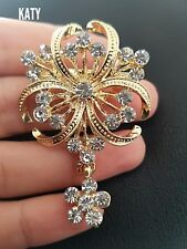Vintage Gold Clear Diamante Dangle Drop Flower BROOCH Pin Wedding Bridal Gift