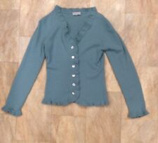 J F W Cashmere Duck Egg Long Sleeve Cardigan Frill Button Up Size 10