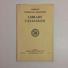 American Numismatic Association - Library Catalogue - May 1960