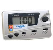 Casio PQ11D-8R Silver LED Light Digital Travel Alarm Clock with Snooze NEW