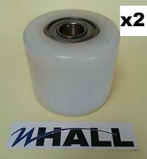 x2no D82 x70mm white nylon pallet truck Tandem load rollers/ wheels inc bearings