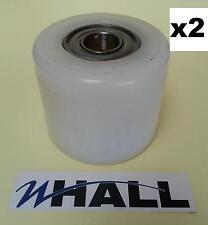 X2no D82 x70mm BLANC NYLON TRANSPALETTE Tandem charge Rouleaux/Roues Inc Roulements
