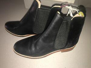 JOULES Westbourne Chelsea Leather Boots Black / Velvet Sz 7 RP£140 FreeUKP&P