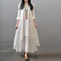 Women Casual Loose Long Sleeve Cotton Linen Boho Long Dress Party Maxi Dress New