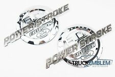 2 NEW CHROME FORD CUSTOM 6.0L POWER STROKE EXCURSION CHROME BADGES EMBLEMS SET