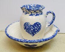 + Glazed Ceramic Flagon, Water Pourer, Jug, Ewer, Pitcher and Bowl + (Cu#364)
