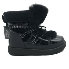 UGG HIGHLAND BLACK WATERPROOF PATENT LEATHER SHORT SNOW BOOTS WOMENS