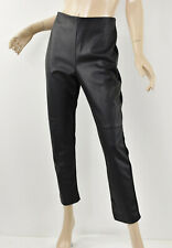 CHICO'S Black Ponte Knit ABBEY PIECED FAUX-LEATHER PANTS Slim Pull-On (1.5) M 10