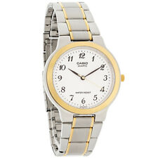 Casio Mens MTP1131G-7B Two-Tone Gold Stainless Steel Dress Watch White Dial NEW