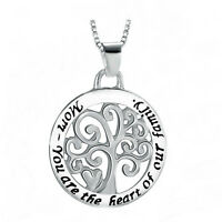 *UK* 925 SILVER PLT 'MOM YOU ARE THE HEART OF OUR FAMILY' ENGRAVED NECKLACE MUM