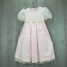Bonnie Jean Vintage Size 5 Fancy Pink Dress Ivory Lace Trim Pleated Layered