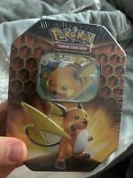 Pokemon Hidden Fates Raichu Tin 4 Booster Packs + Promo Card TCG