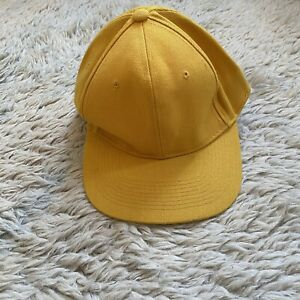 Vintage Yellow Size 7 Fitted Baseball Cap Plain Basic Wool Acrylic Korea 80s 90s