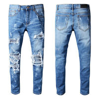 New Men Italy Pop Style Ribbed Patches Moto Pants Blue Jeans Slim Trousers A513C