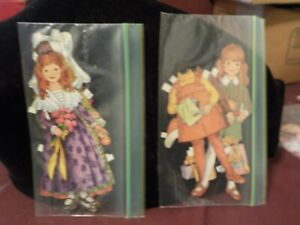 VINTAGE BETSY MCCALL ? PAPER DOLLS CUT OUT OF MAGAZINE- 2 GIRLS-purple dress