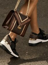 Michael KORS LIV ICONIC BLACK BROWN MK GOLD LOGO WEDGE SNEAKERS I LOVE SHOES