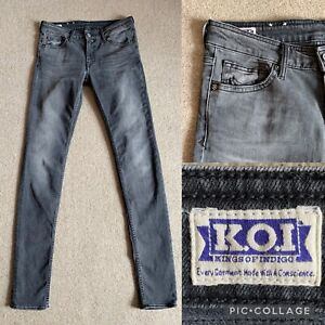 """Kings Of Indigo Juno Mid Rise Slim Jeans Size 28 x 34"""" Light Grey Ethical"""
