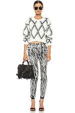NWT$430 Proenza Schouler Black/White Twig Print Graffiti Coated Skinny Jeans,24