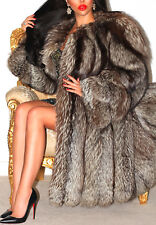 GORGEOUS REAL SILVER FOX FUR COAT LONG JACKET SIZE L 14 16 BEAUTIFUL!