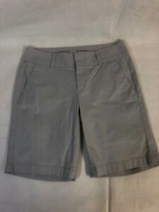 J Crew Grey Shorts Right Above Knee Length Size 0 Solid Casual Flat Front Solid